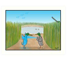 Duck Hunting Cartoon Art Print