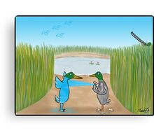 Duck Hunting Cartoon Canvas Print
