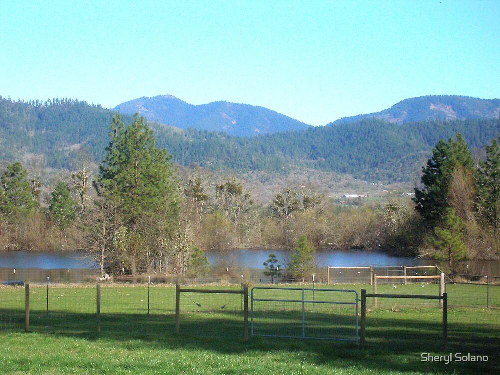 Pond & Mountain Landscape by Sheryl Solano