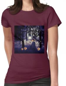 Halloween witch with pumpkin Womens Fitted T-Shirt