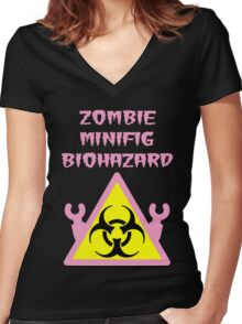 ZOMBIE MINIFIG BIOHAZARD Women's Fitted V-Neck T-Shirt