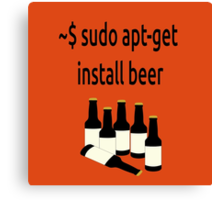 Linux sudo apt-get install beer Canvas Print