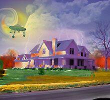 UFO Over Farmhouse by SkipFarley