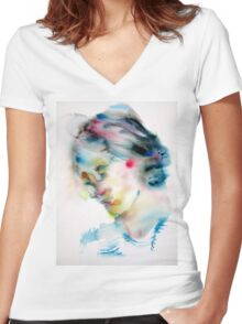 VIRGINIA WOOLF -watercolor portrait Women's Fitted V-Neck T-Shirt