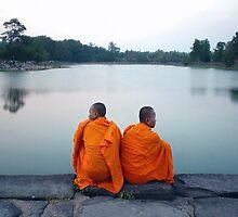 Monks At Holy Pond, Angkor by Dave Lloyd