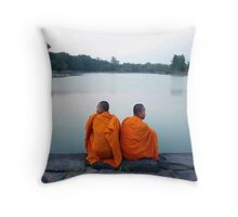 Monks At Holy Pond, Angkor Throw Pillow