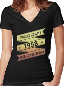Highest Quality 1958 Aged To Perfection Women's Fitted V-Neck T-Shirt