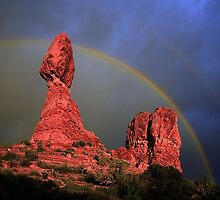 Rainbow Over Balanced Rock by Markos Berndt