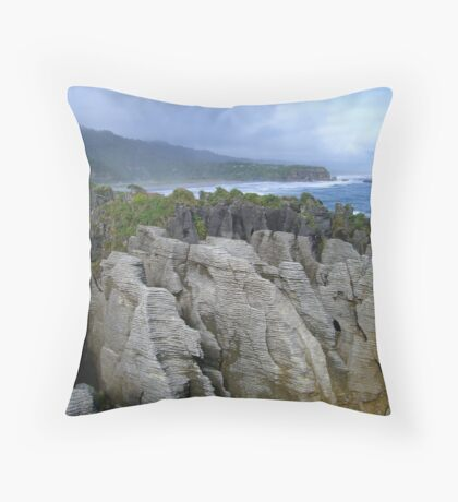 Pancake Rocks, New Zealand Throw Pillow