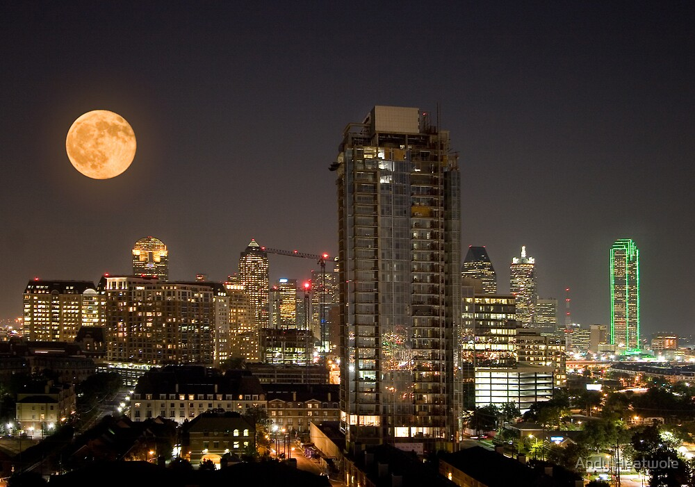 Full Moon over Dallas by Andy Heatwole