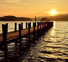 Sunset Jetty Coniston by Gary Kenyon