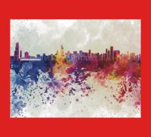 Chicago skyline in watercolor background Kids Clothes