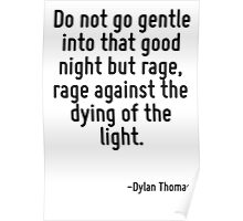 Do not go gentle into that good night but rage, rage against the dying of the light. Poster