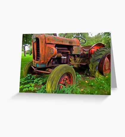Old vintage tractor digital art Greeting Card