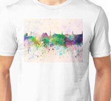 Riga skyline in watercolor background Unisex T-Shirt