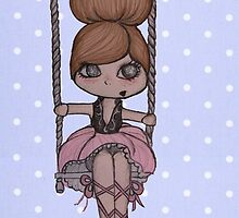 LITTLE GIRL AERIALIST. BLUE DOTS by MUYOU