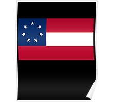 Stars & Bars, USA, America, First, American, National Flag, 7 stars, America,1861, on BLACK Poster