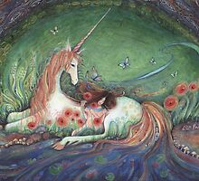 Unicorn and sleeping girl fantasy art by Liza Paizis by Liza Paizis