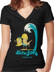 longboard Women's Fitted V-Neck T-Shirt