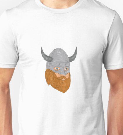 Viking Warrior Head Three Quarter View Drawing Unisex T-Shirt