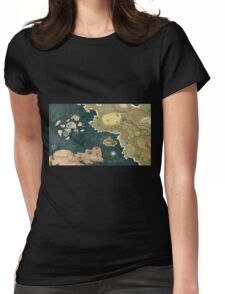 Glitch Overlay world map PIXELATED Womens Fitted T-Shirt