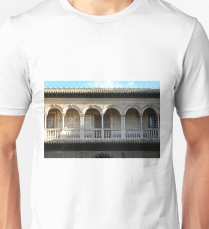 Spanish building with arches and columns  Unisex T-Shirt