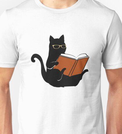 Cat Book Nerd Reader Funny Glasses Bookworm Gift Unisex T-Shirt