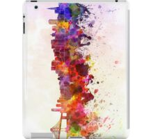 San Francisco skyline in watercolor background iPad Case/Skin