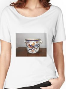 Ornate Container with Flowers and Birds Women's Relaxed Fit T-Shirt