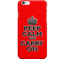 Keep Calm & Carry On, Be British! UK, Britain, Blighty, Chisel on Red iPhone Case/Skin