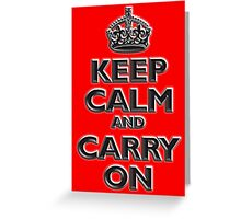 Keep Calm & Carry On, Be British! UK, Britain, Blighty, Chisel on Red Greeting Card