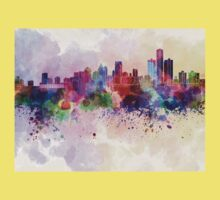 Detroit skyline in watercolor background Kids Clothes