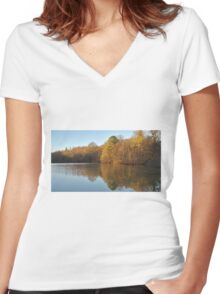 Autum Reflection Women's Fitted V-Neck T-Shirt