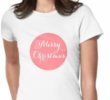 Merry Christmas, coral red dot Womens Fitted T-Shirt