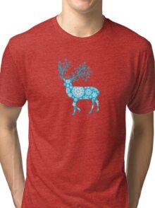 Turquoise blue Christmas deer Tri-blend T-Shirt