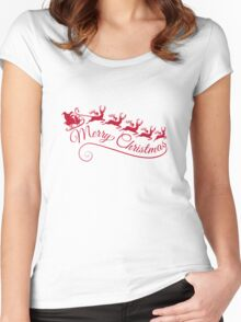 Merry Christmas, Santa Claus with his sleigh Women's Fitted Scoop T-Shirt