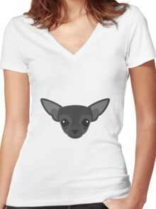 Black Chihuahua Women's Fitted V-Neck T-Shirt