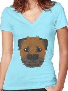 Border Terrier  Women's Fitted V-Neck T-Shirt