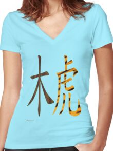 Wood Tiger 1914 and 1974 Women's Fitted V-Neck T-Shirt