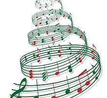 Christmas tree with music notes and heart by beakraus