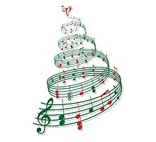 Christmas tree with music notes and heart Photographic Print