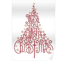 Typographic Christmas tree with hand drawn letters Poster