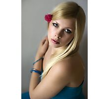 Beautiful blondie girl portrait with pink flower Photographic Print