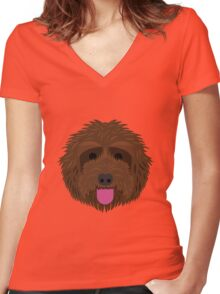 Brown Labradoodle Women's Fitted V-Neck T-Shirt