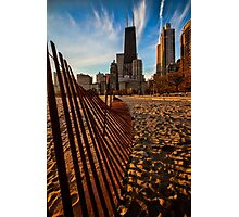 Dunes Fence leads to Chicago skyline Photographic Print
