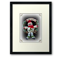 Merry Christmas from Winter Woolly Snowman Framed Print