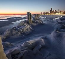 Icy Chicago Lakefront dawn by Sven Brogren