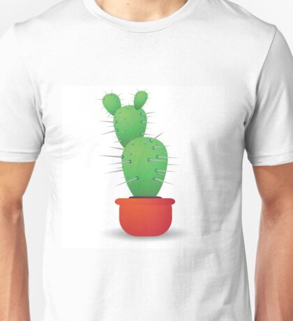 green cactus  isolated on a white background Unisex T-Shirt