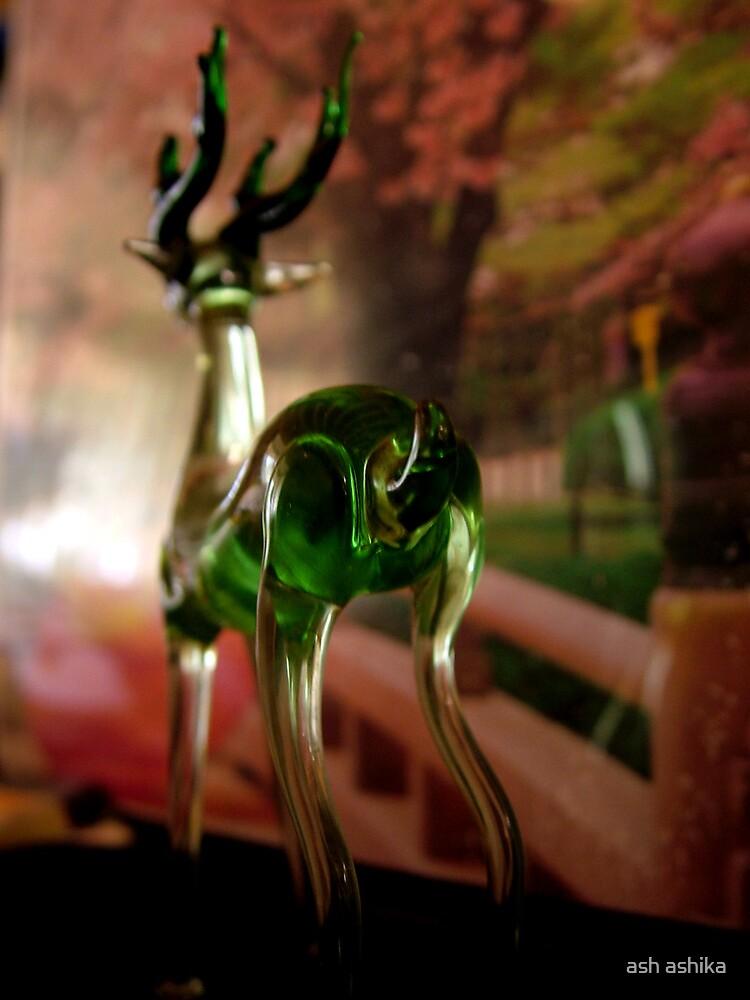'deer' made of glass by ash ashika