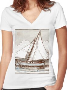 Vintage Sailing Ship on the Sea Women's Fitted V-Neck T-Shirt